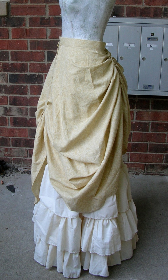 Custom LONG Steampunk Ruffle skirt with drawstring bustle