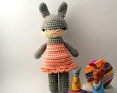 girl toy dolls children rabbit bunny crochet amigurumi plushie .. little tara .. toy