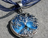 Round Stained Glass and Filigree Pendant - Tree of LIfe (SGT-P15)