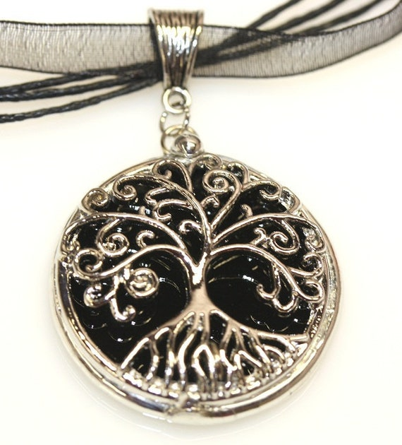 Round Stained Glass and Filigree Pendant - Tree of LIfe (SGT-P4)