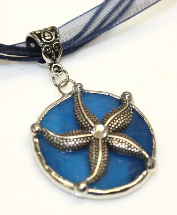 Round Stained Glass and Filigree Pendant - Starfish (SGSF-P15)