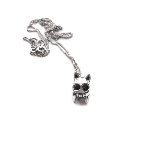 SALE cat skull pendant