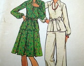 Uncut Vintage Sewing Pattern 3 Pc Suit Secretary Pant Skirt Patio Tunic A-Line Butterick 3620 Misses Size 14 Bust 36 Waist 28 Hip 38 1970s