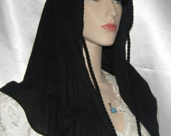 Black Gauze Cotton Tichel SCARF Headcovering Head Covering