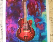 Abstract, Pop Vintage Guitar, Fine Art Print, Titled Gibson ES-5, Illustration, Watercolor, Painting