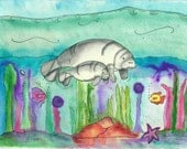 Nursery Wall Art, Fine Art Watercolor Manatees Print, Beautiful Colors, Coastal, Beach, Sealife, Illustration, Fish, Water, Blue, Torquoise