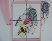 8 Postcard Set With Envelopes, Wise Old Owl Pen And Ink Illustration, Packaged For Gifting, Birds, Wildlife Art, Nature