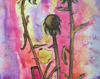 SALE, SALE Original Large Watercolor Abstract Pop Art Stretch Canvas Painting  Bold Floral, Nature Art, Loft