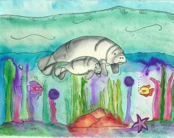 Fine Art Manatees Print, Watercolor Painting, Childrens Illustration, Nursery, Ocean, Beach, Blue, Green, Customized, Baby Shower, Birthday