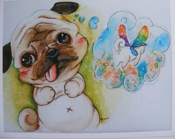 Precious Pug Fine Art Watercolor Print, Childrens Illustration, Painting, Nursery Art, Baby, Baby Shower, Dog, Animal, Fantasy, Dream, Art