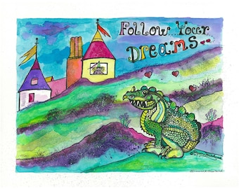 Original Watercolor Painting, Can Be Personalized W/Childs Name, Original Illustration, Nursery Wall Art, Finnegan The Dragon, Childrens Art