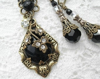 Little Black Dress - Jet Black Pendant Antiqued Brass and Glass Pendant Earring Set
