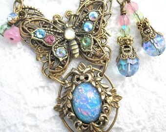 Butterfly Bouquet - Blue Glass Opal Necklace Brass Butterfly Antiqued Brass Necklace Set