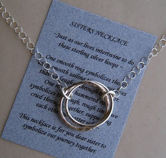 SISTERS JOURNEY NECKLACE Sterling Silver with Poem - Love - Family - Friend