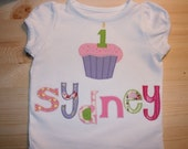 BIRTHDAY T-shirt Cupcake Personalized Appliqued Boutique Custom