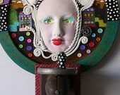 Was 395.00 SEW WHAT  polymer found object sculpture antique and vintage pieces