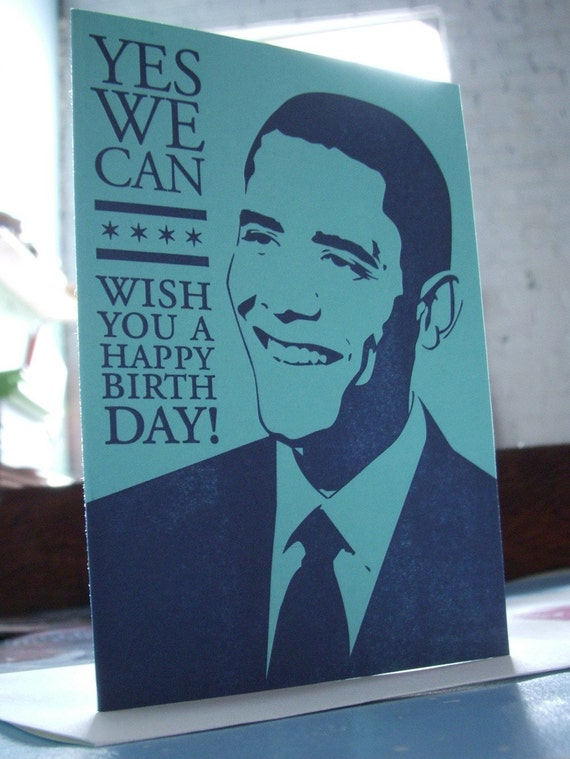 SALE 50% OFF letterpress yes we can wish you a happy birthday! president barack obama greeting card blue & navy chicago pride