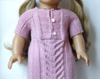 "Jane - Cabled Sweater Dress - Knitting Pattern PDF For 18"" American Girl Dolls - Doll Clothes Pattern - Instant Download"