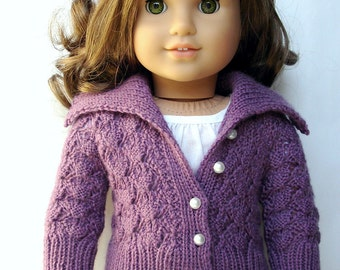 "Helena Lace Cardigan Sweater - PDF Knitting Pattern For 18"" American Girl Dolls - Doll Clothes Pattern - Instant Download"