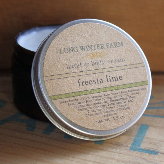 Freesia Lime Skin Cream with Organic Aloe Juice hand body Lotion