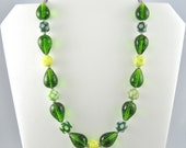 Big Chunky Necklace, Lime Green Necklace, Whimsical Jewelry, Green and Yellow, Polka Dot Necklace, Funky Jewelry, Funky Necklace