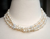 Bridal Necklace, Ivory Pearl Three Strand Wedding Necklace, Rhinestone, Swarovski Pearls, Elegant Special Occasion Jewelry, N262IV