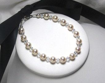 Ribbon Bracelet, Bridal Bracelet, Swarovski White Pearl, Ivory Pearls, Wedding Ribbon Bracelet, Bridesmaids Bracelet, Flower Girl Bracelet