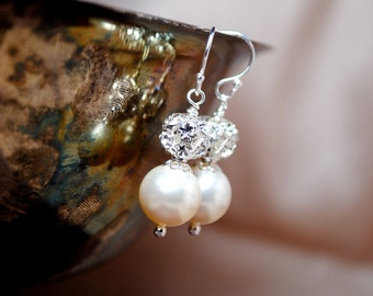 Bridal Pearl Earrings, Ivory Pearl Drop Earrings, Rhinestone Fireball Earrings, Bridal Jewelry, Swarovski Wedding Earrings
