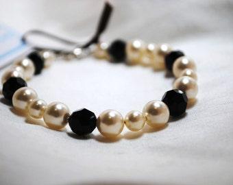 Pearl Bracelet, Champagne Pearl Bracelet, Faceted Black Onyx Bracelet, Special Occasion, Bridal Jewelry, Wedding Bracelet, Wedding Jewelry