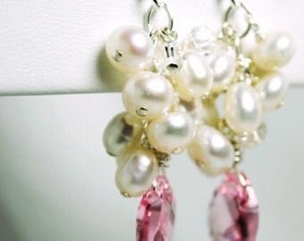 Cluster Wedding Earrings, Bridal Jewelry, Freshwater Pearl Cluster Earrings, Rose Swarovski Briolette, Bridesmaids Earrings, Wedding Jewelry