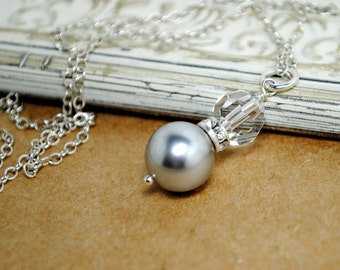 Pearl Bridal Necklace, Pearl Crystal Pendant Wedding Necklace, Bridesmaid Jewelry, Special Occasion Jewelry, Crystal Necklace