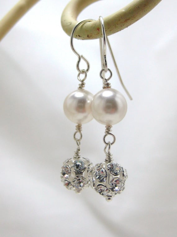 Bridal Rhinestone Earrings, Swarovski White Pearl Wedding Earrings, Dangle, Rhinestone Fireball Drop, Bridesmaids, Long Bridal Elegant