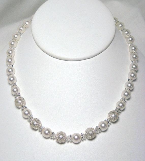 Filigree Bridal Necklace, Victorian Inspired Wedding Necklace, White Swarovski Pearls, Crystals, Sterling Silver, Vintage Style Bridal