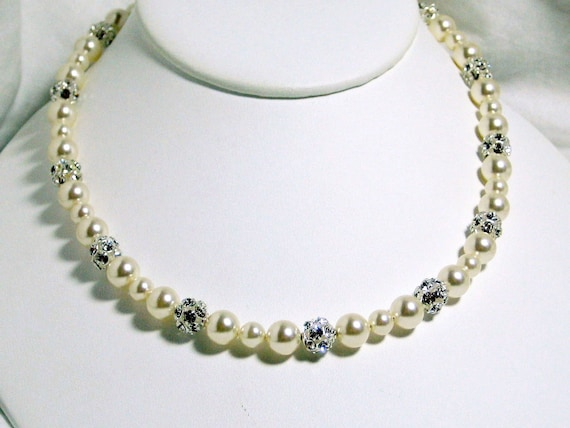 Ivory Pearl Bridal Necklace, Swarovski Rhinestone Balls, Fireballs, Sterling Silver, Bridal Jewelry, Wedding, Handmade