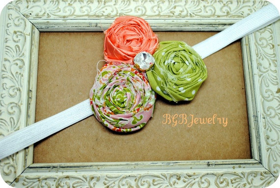 Triple Flower Rosette Headband, Hand Rolled Fabric Flower Hair Clip, Orange, Green Polk a dot, Photo Prop, Garden Theme, BGBJewelry