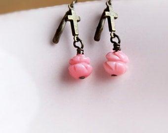 Blushing PInk Rose Coral Cross Earrings