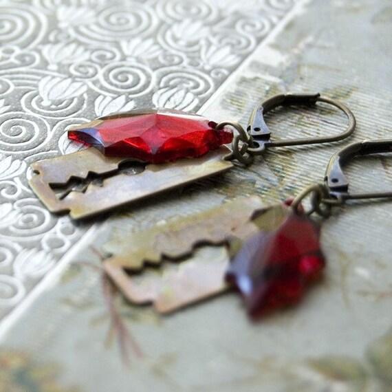 Scar - Razor Blade Romance Earrings