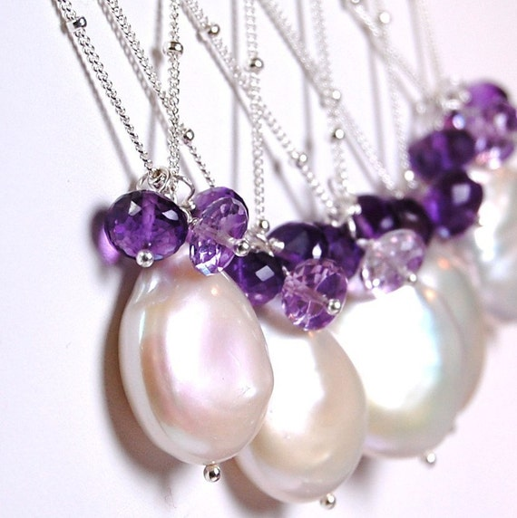 Bridesmaid Necklaces, Coin Pearl Amethyst Sterling Silver, Custom Wedding Design, Sample Listing, Bridal, Moonglow Necklace