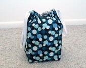 MOVING SALE - Brown with Blue and White Dots Drawstring Knitting Project Bag