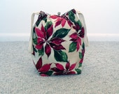 HOLIDAY SALE - Christmas Poinsettias Drawstring Knitting Project Bag