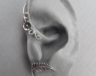Sterling Flower and Leaf  Ear Wrap - SPRING - Silver Ear Cuff Wrap