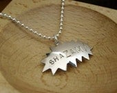 Shazam - Superhero Comic Book Necklace on 18 inch Sterling Ball Chain - Recycled sterling silver