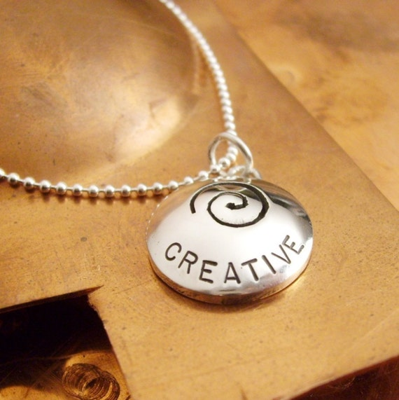 Creative with Swirl Cut-Out Pendant on 18 inch  Ball Chain - Recycled sterling silver