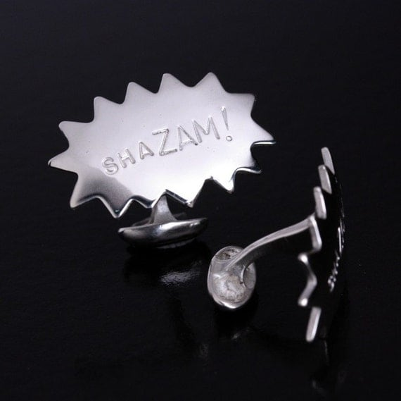 "Men's Cufflinks ""Shazam!"" Superhero Style - Recycled sterling silver - feature in Seattle Magazine"