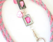 Hand Braided and Beaded id Badge Lanyard - Hearts and Stars