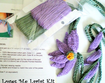 DIY Knit Jewelry - Lavender Daisy Lariat Necklace Knitting Kit - Loves Me