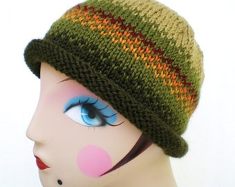 Hand Knit Wool Hat Sage and Forest Green
