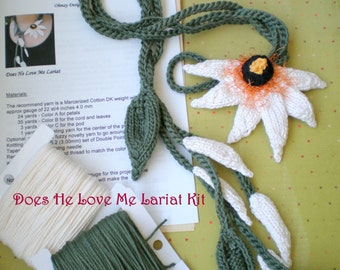 Knit Jewelry DIY Knitting Kit - White Daisy Lariat Necklace  - Does He Love Me