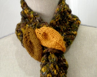 Women Wool Knit Ascot Scarf Collar - Forest Leaves