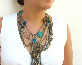 The Flight of the Blue Bird Necklace, Vintage Alpaca Pieces with Chrysocolla